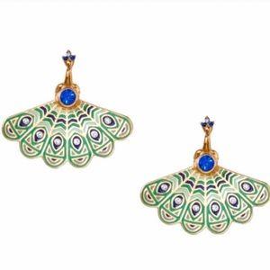 KATE SPADE Full Plume Peacock Ear Jackets Earrings